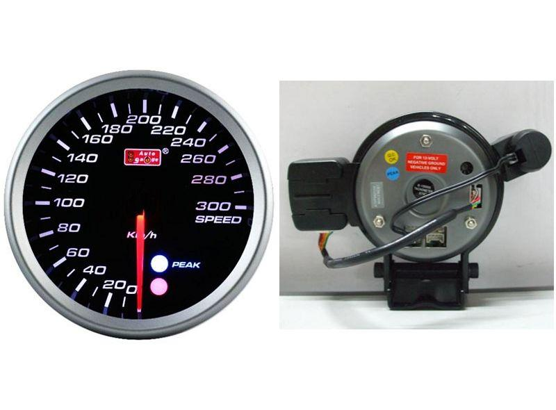 AUTOGAUGE 80mm Amber, White and Blue Black Face Speed Meter [559]