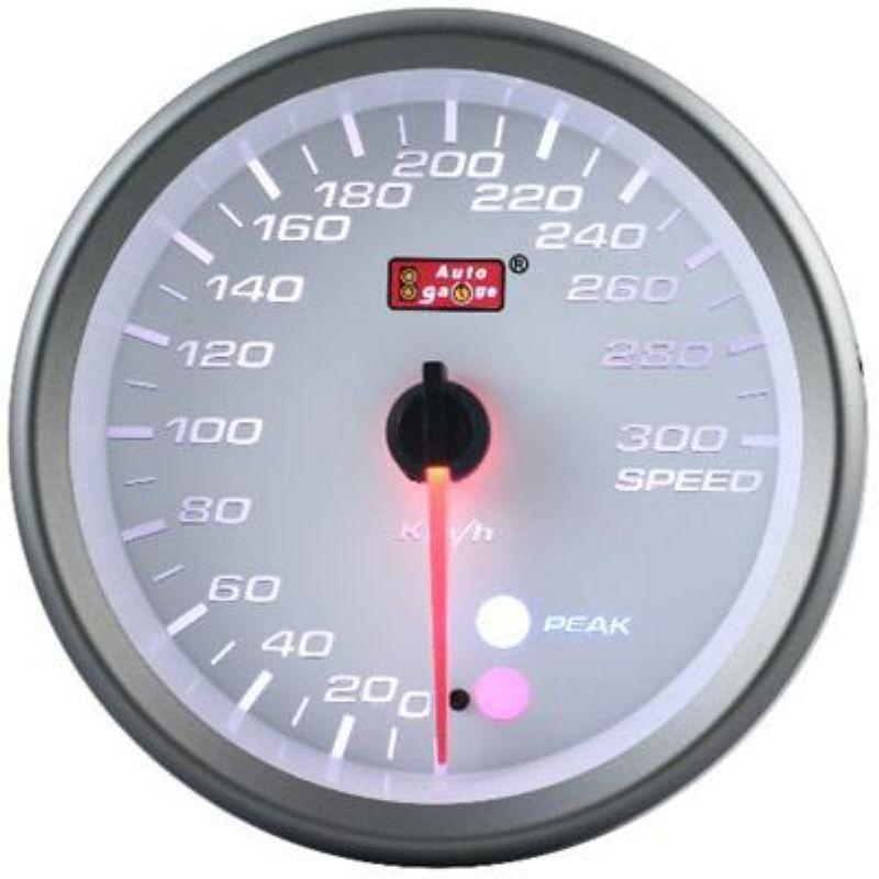 AUTOGAUGE 80mm Amber, White and Blue White Face Speed Meter [563]
