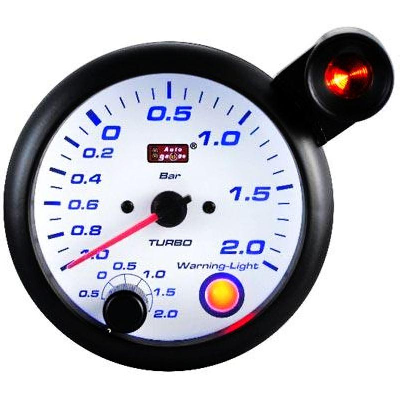 AUTOGAUGE 95mm Blue Racer White Face Boost Meter [197]