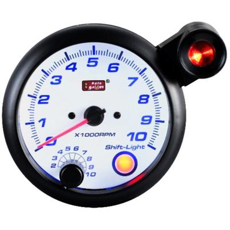 AUTOGAUGE 95mm Blue Racer White Face RPM Tachometer [177]