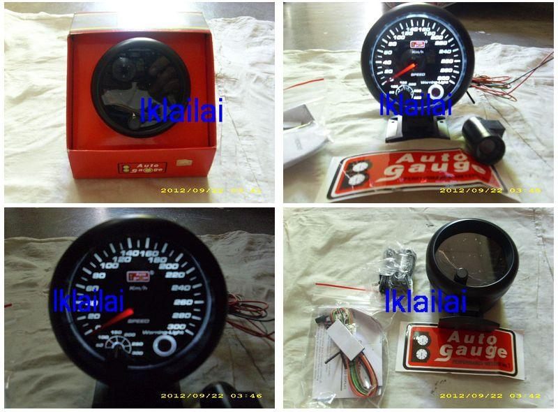 AUTOGAUGE 95mm Super White Black Face Speed Meter [200]