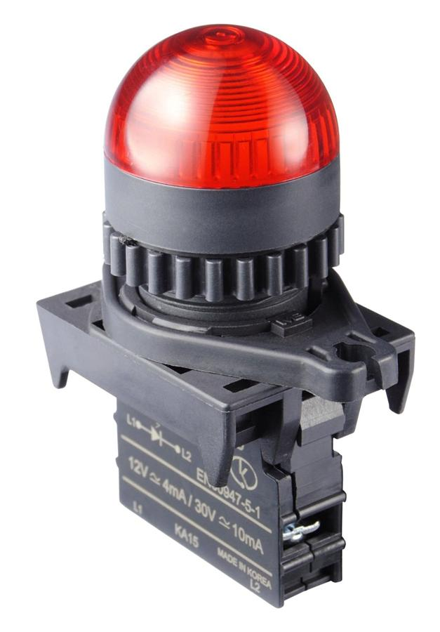 AUTONICS Pilot Lamp L2RR-L1RL, LED, Dome Head, Red, Ø22/25