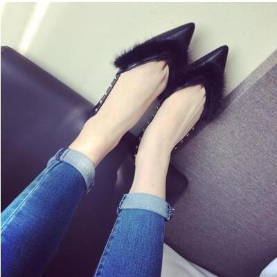 Autumn new arrival European wind American mink pointed sandal