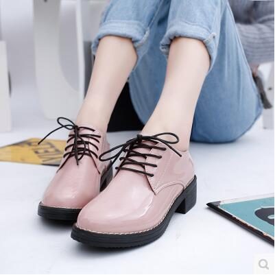 Autumn British retro wind round head casual leather shoe