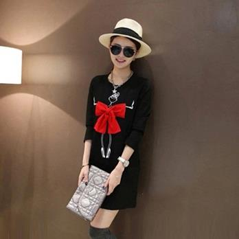 Autumn Fashion Sweet Crop Up Bow Long Sleeved Dress BLACK