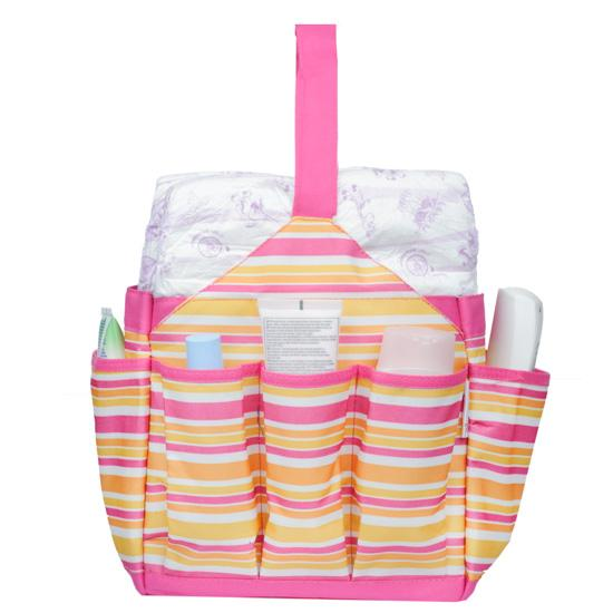 Autumnz Portable Diaper Caddy - Multi Stripes (Candy Pink)