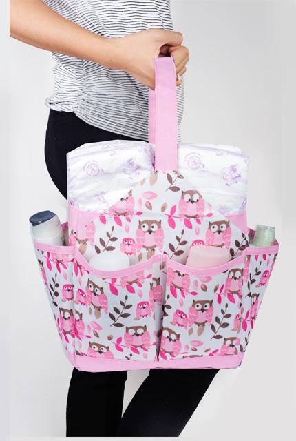 Autumnz Portable Diaper Caddy - Owl (Pink)