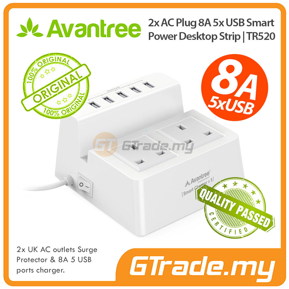 AVANTREE 5 USB Charger 8A Extension Wire Plug Apple iPhone SE 5S 5C 5