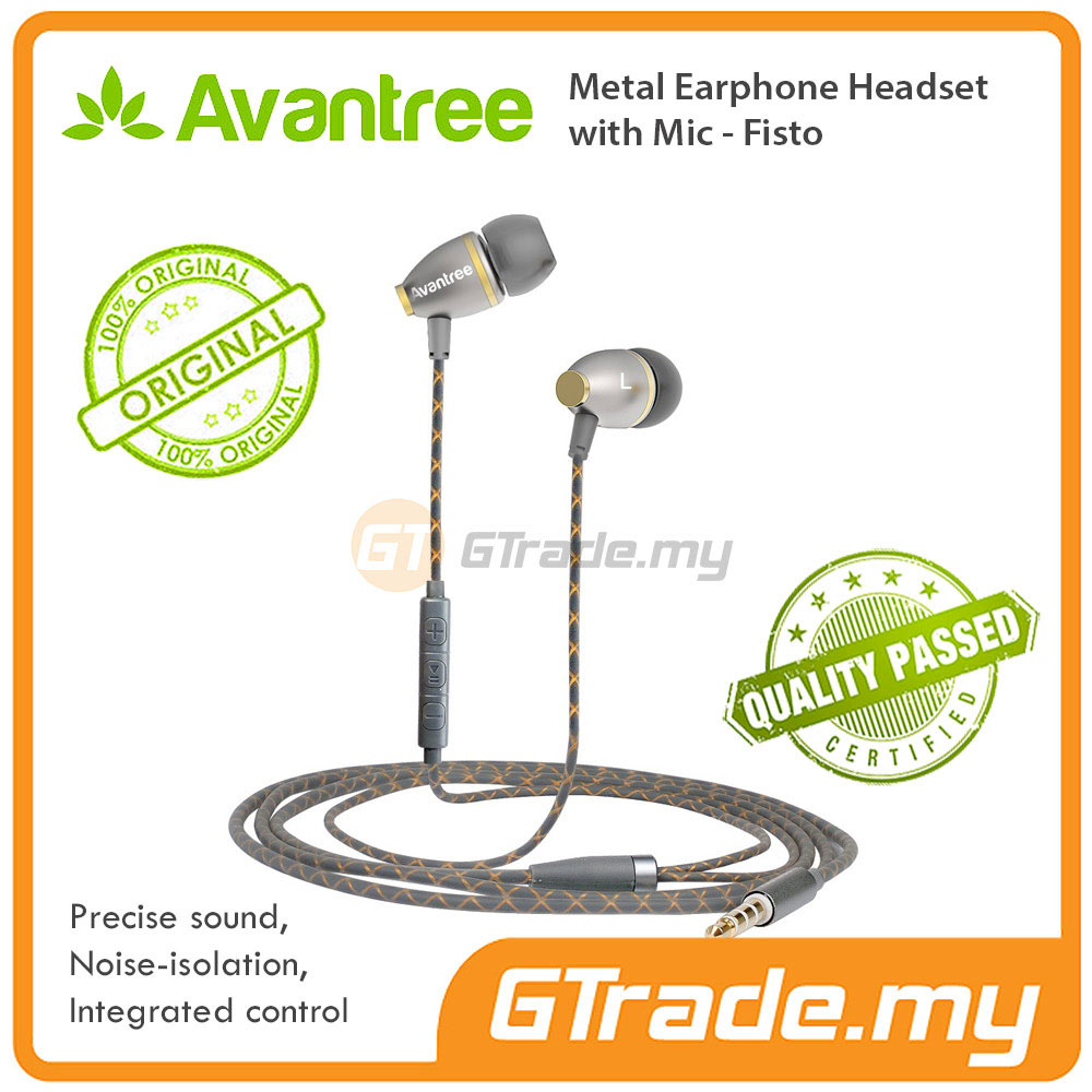 AVANTREE Earphones Headset In Ear Metal Bass With Mic FISTO