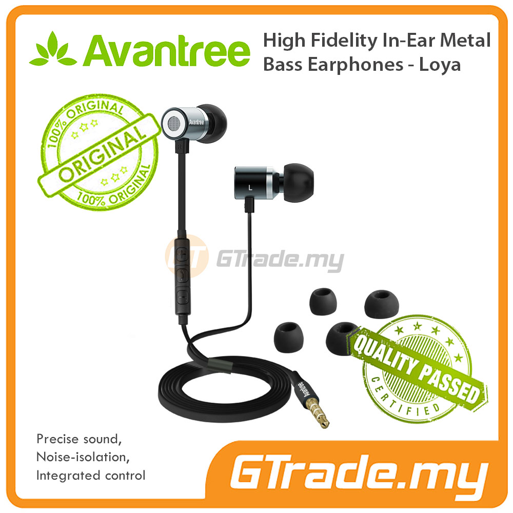 AVANTREE Earphones Headset Loya High Fidelity In Ear Metal Bass Black
