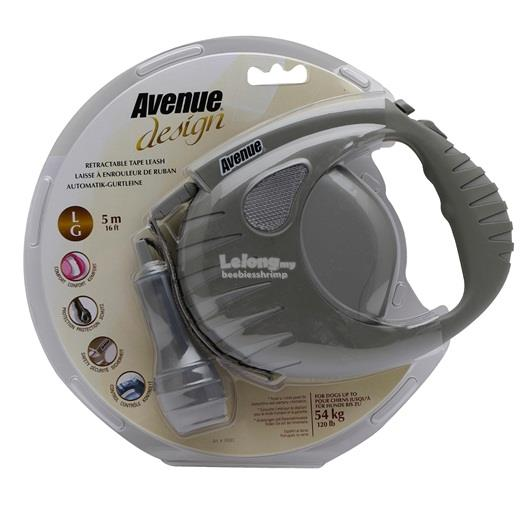 Avenue Dog Retractable Tape Leash - Warm Gray - Large