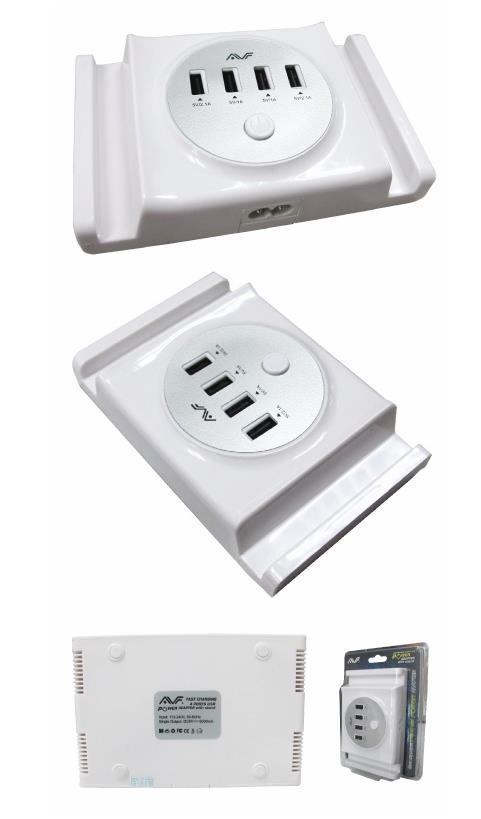 AVF AC 2PIN WITH 4 PORT USB 6A CHARGER (AUTAM07)
