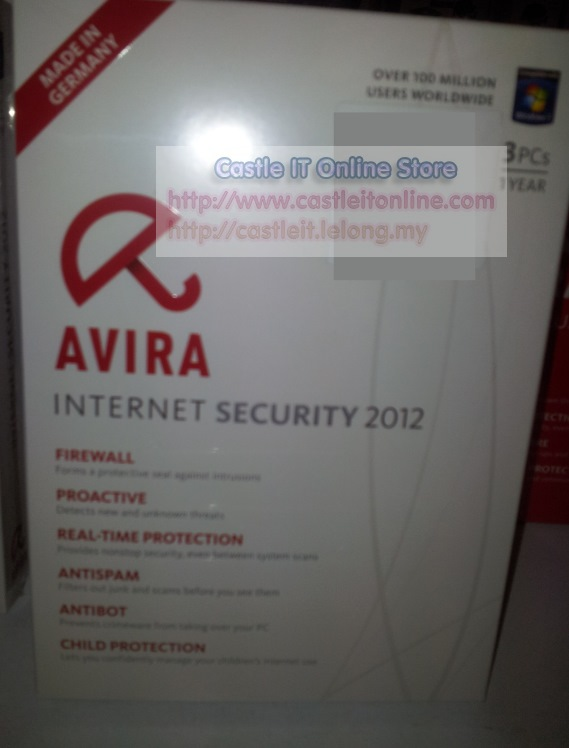 Avira Internet Security 2012 [3 User / PC , 1 Year License] Retail Box