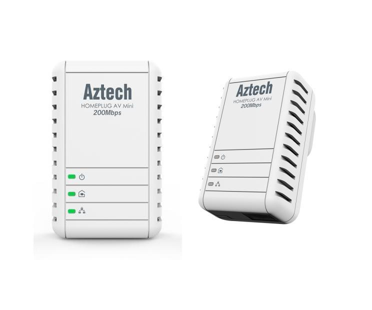 Aztech HL113E Twin Pack 200Mbps Ethernet Adapter / Home Plug