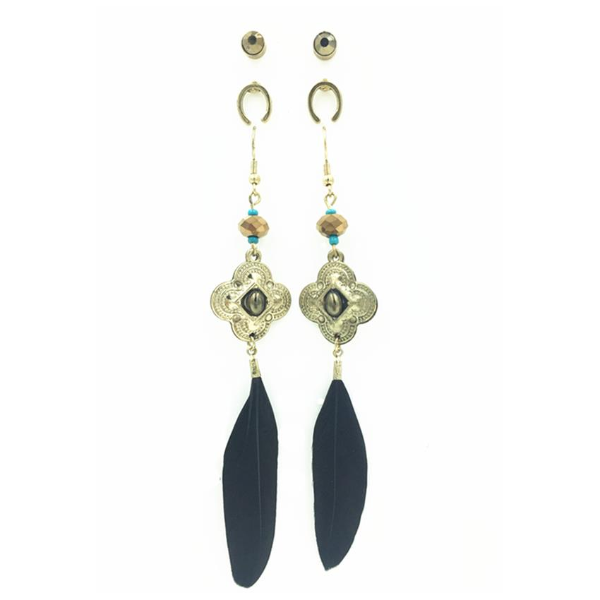 [Little B House]3 Pairs Feather AlloyEarrings 11cm - ER205