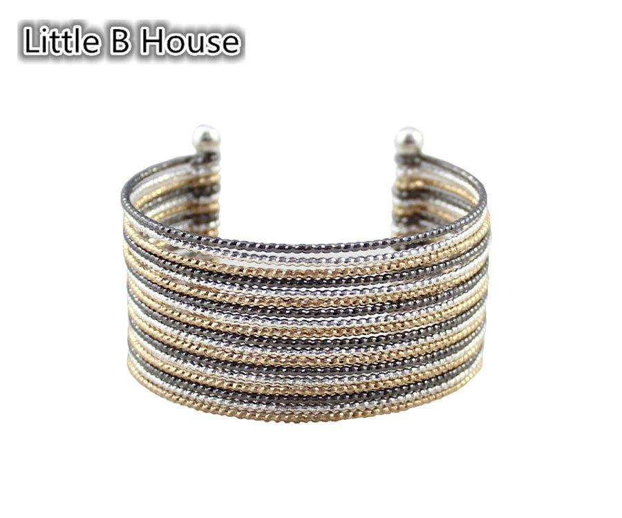 [Little B House] Color Multilayer Shiny Wide Bracelet - BC77