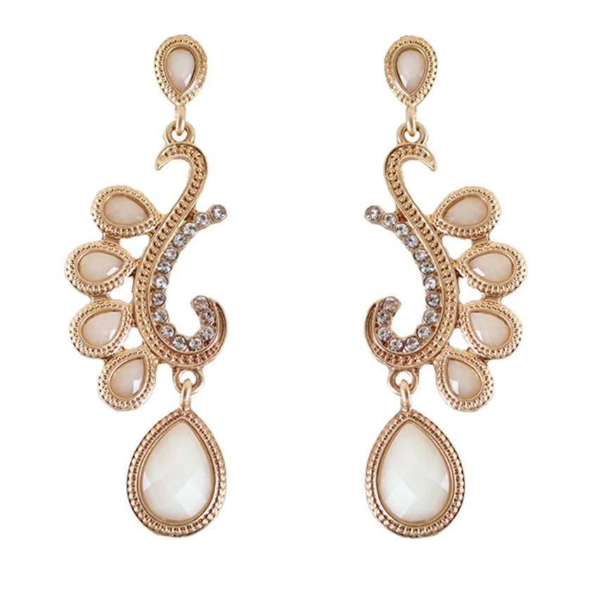 [Little B House]Gold & Beige Artifical Crystal Alloy Earrings - ER199