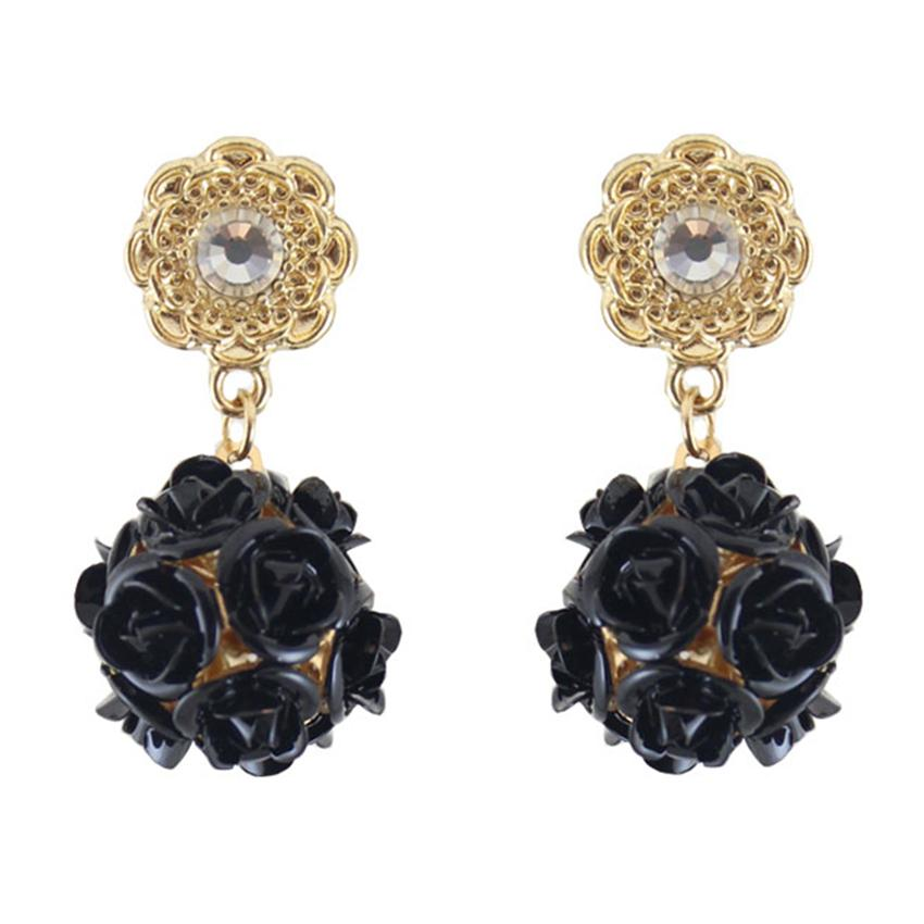 [Little B House]Gold & Black Rose Ball Alloy Earrings 3.6cm - ER202