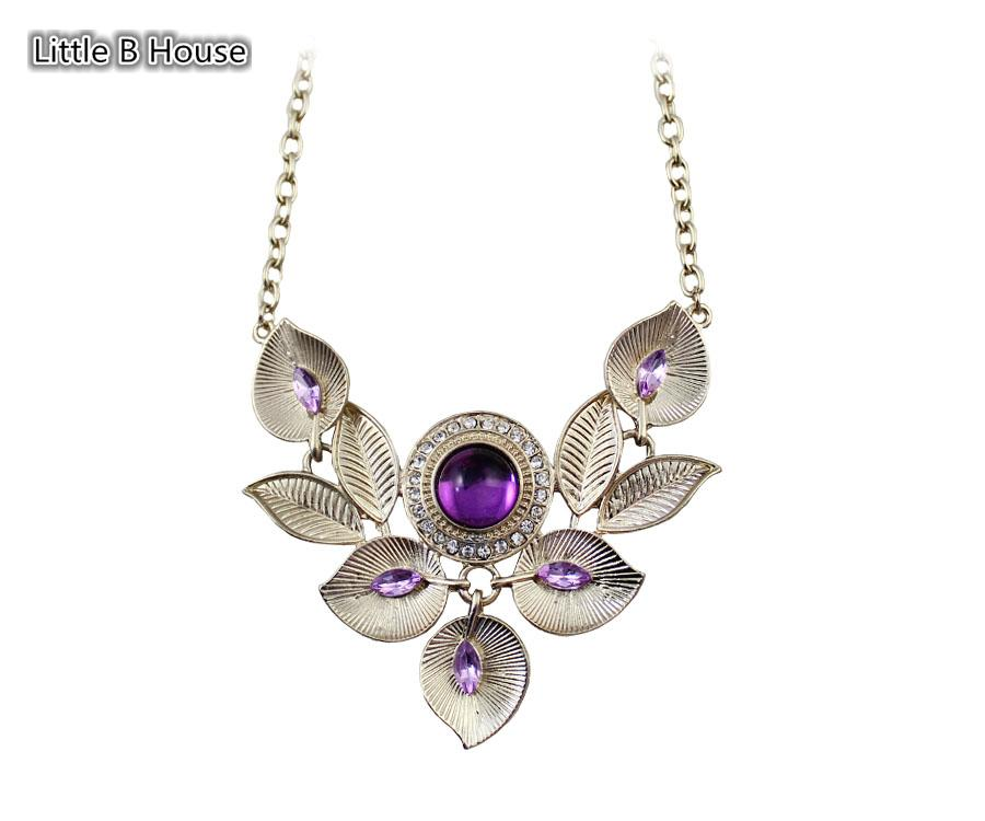 [Little B House] Gold&Purple Colour Artifical Crystal Alloy Necklace