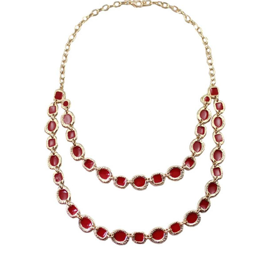 [Little B House]Gold & Red Carved Rim Multilayer Alloy Necklace -NL253