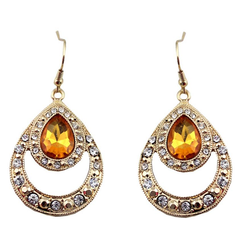 [Little B House]Gold & Yellow Artifical Crystal Alloy Earrings - ER183