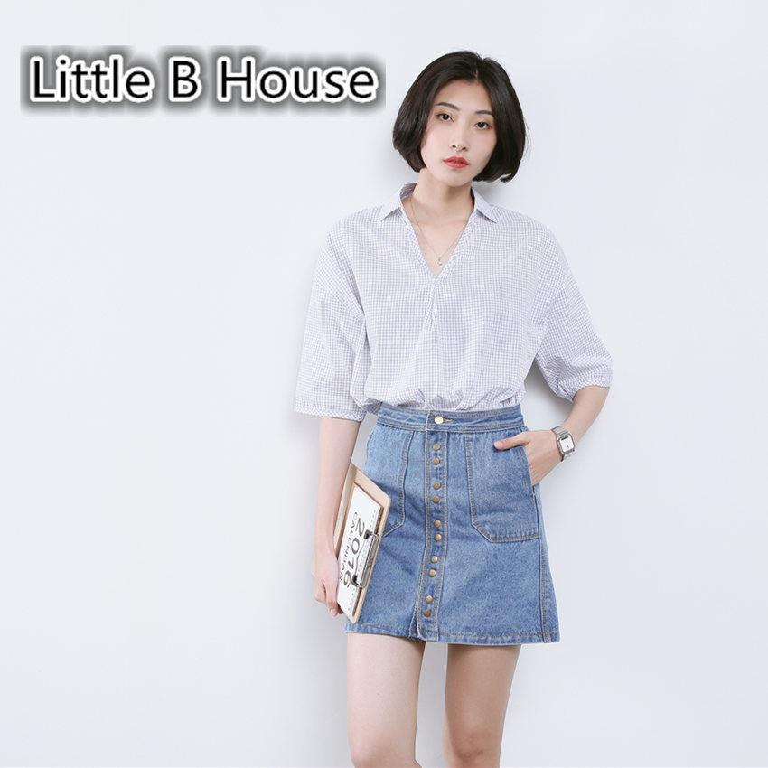 [Little B House]Loose Blue And White Squares Midi Sleeve Shirt -CS6261