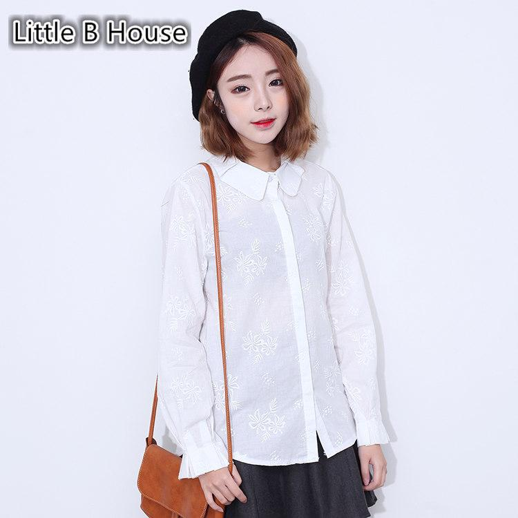 [Little B House]Loose Embroidered Long-sleeved Shirt -CS6161