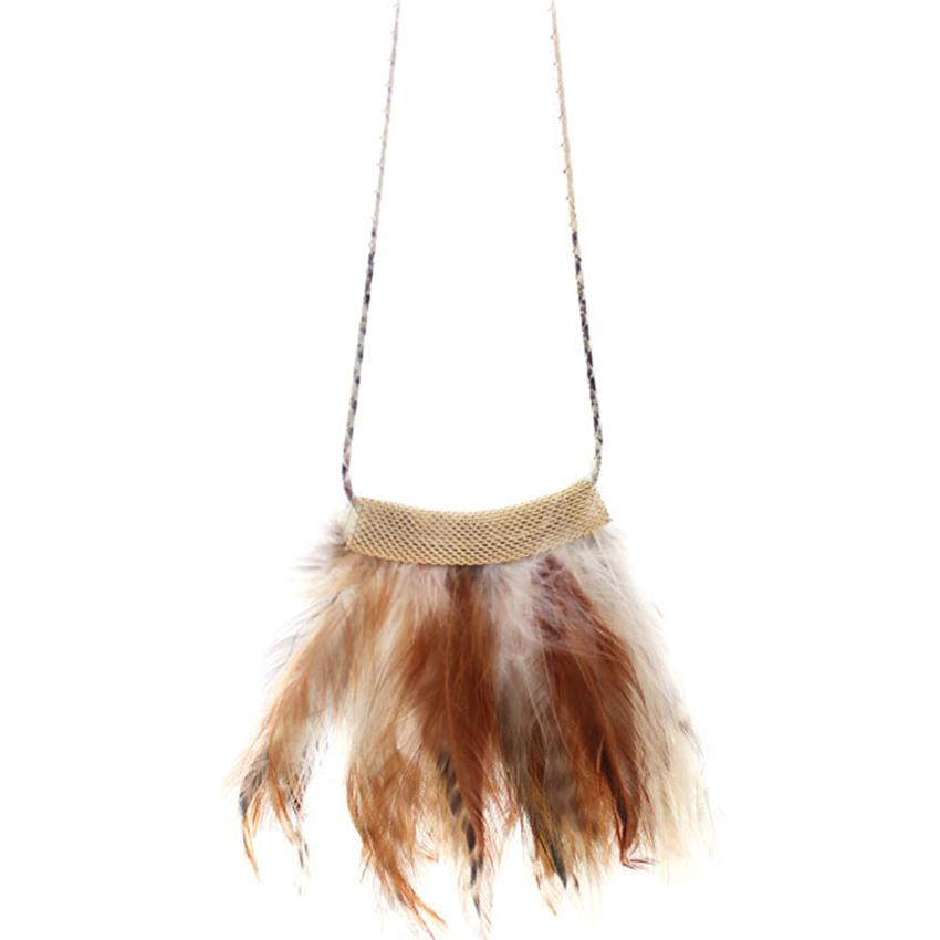 [Little B House]Multicolor Feather Tassels Alloy Necklace 66cm - NL256
