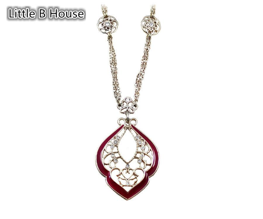 [Little B House] Retro Hollow Red Short Necklace - NL138