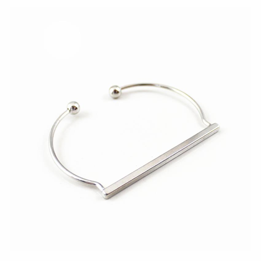 [Little B House] White Gold Color Rectangle Shape Alloy Bracelet-BC160