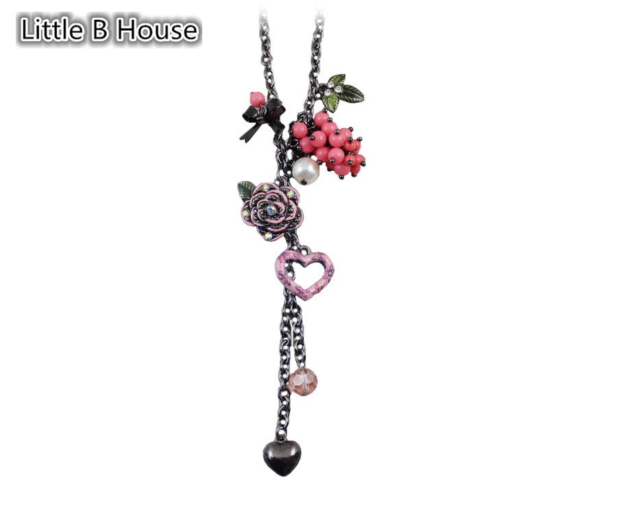[Little B HouseMixed Colour Flowers Greenery Heart Pendant Alloy Short