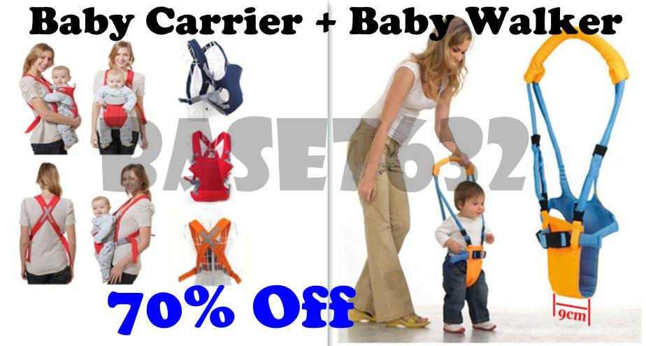 Baby Carrier +    Baby Walker Walking Assistant Set