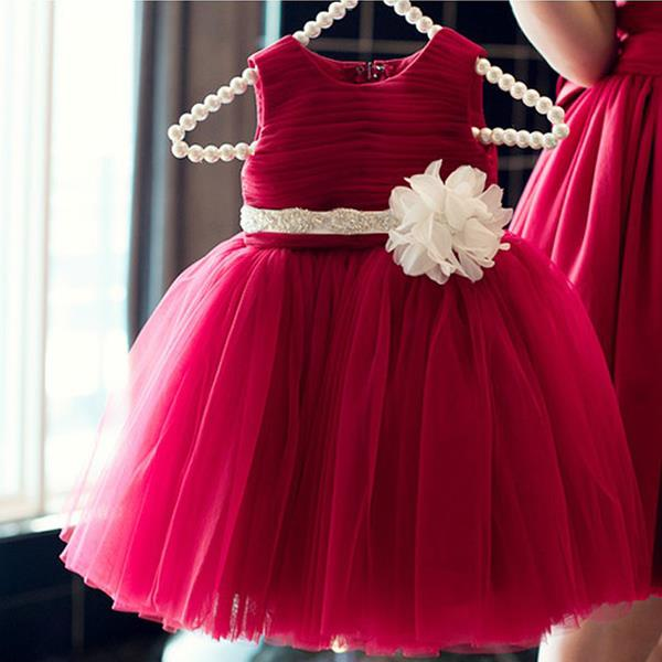 Baby girl party dress princess gown tutu dress baby cloth red