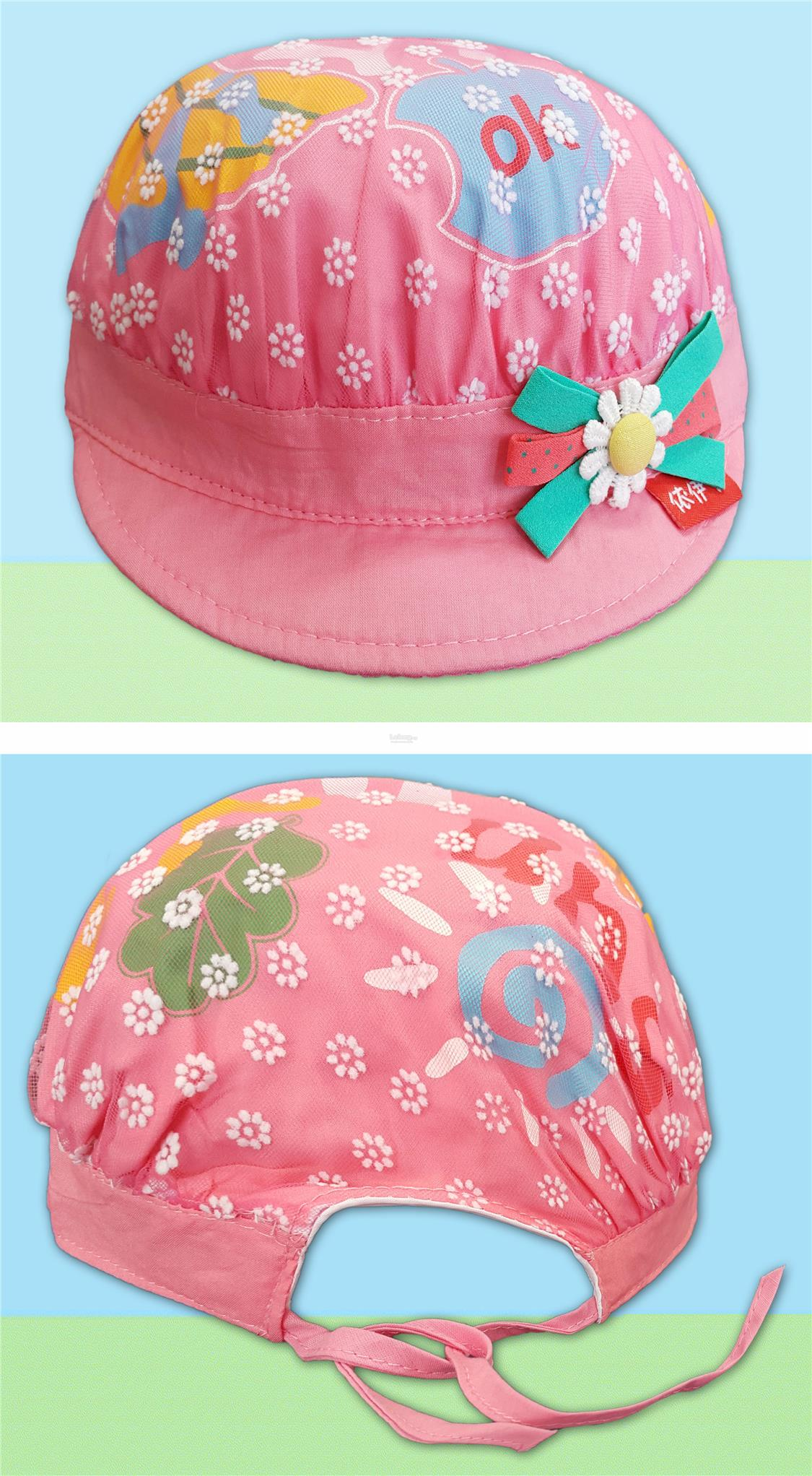 Baby Girls Infant Caps Hats with Colourful Printings and Lace
