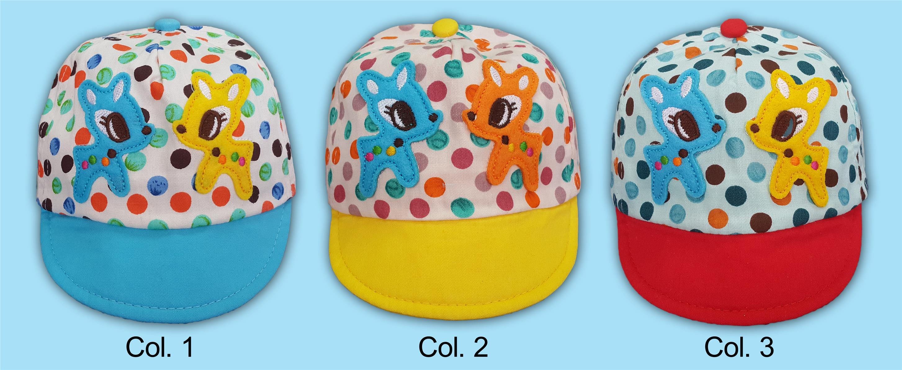 Baby Infant Caps with Pokka Dots and Deers Appliques