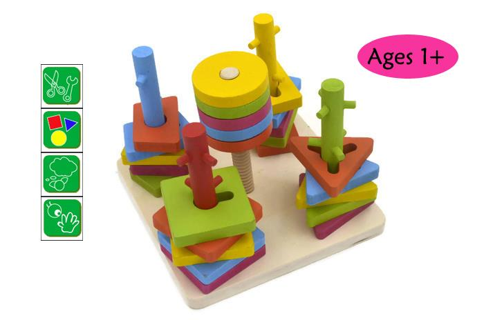 Baby Kids Wooden Toy Creative Peg Puzzle Block Good Quality