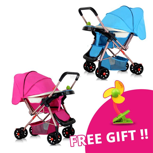 Baby Strollers Four-Wheel with Free Gift Clip Fan ~ Ready Stock