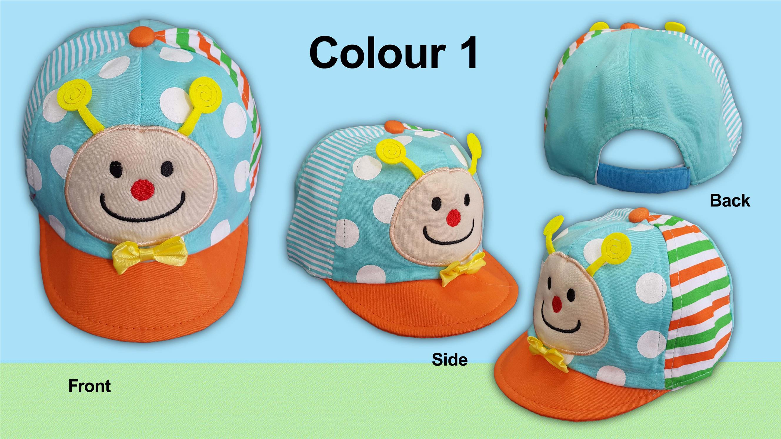 Baby Toddlerss Caps with Caterpillar Applique