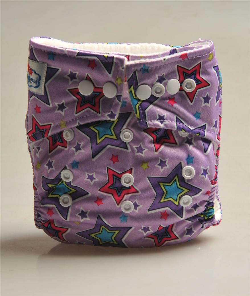 Babyland cloth diaper -Purple star  button