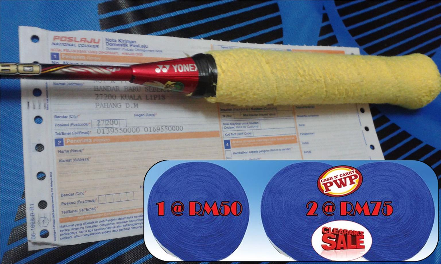 BADMINTON TOWEL GRIP (SIZE:LENGTH 10M,WIDE:30MM) COD : Kuala Lipis -
