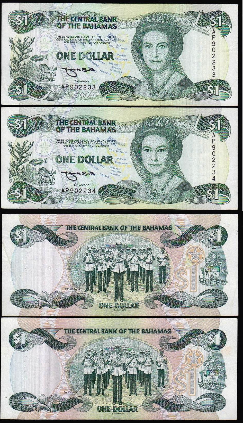 Bahamas 1 dollar 1974[1984] 2 pcs consequtive