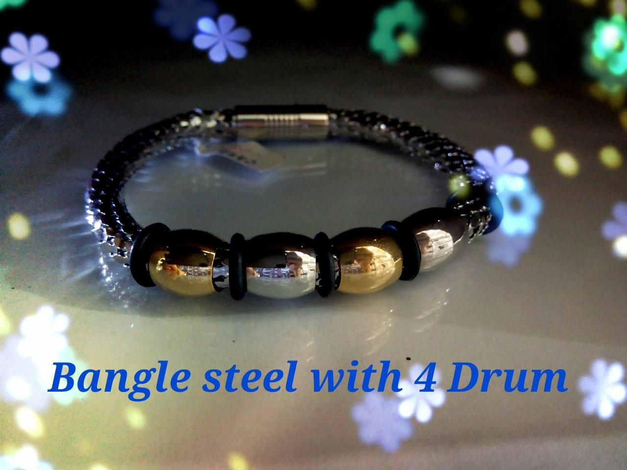 Bangle Steel For Man-4 Drum-Gold n Silver color