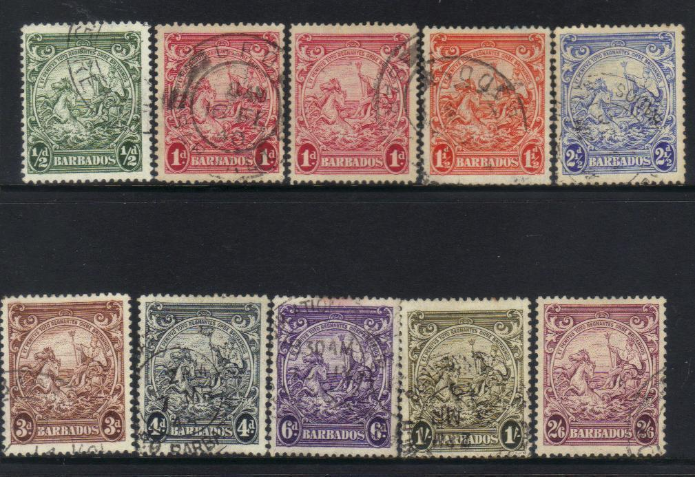 BARBADOS 1938-1947 DEFINITIVES USED CAT £14+ BJ232