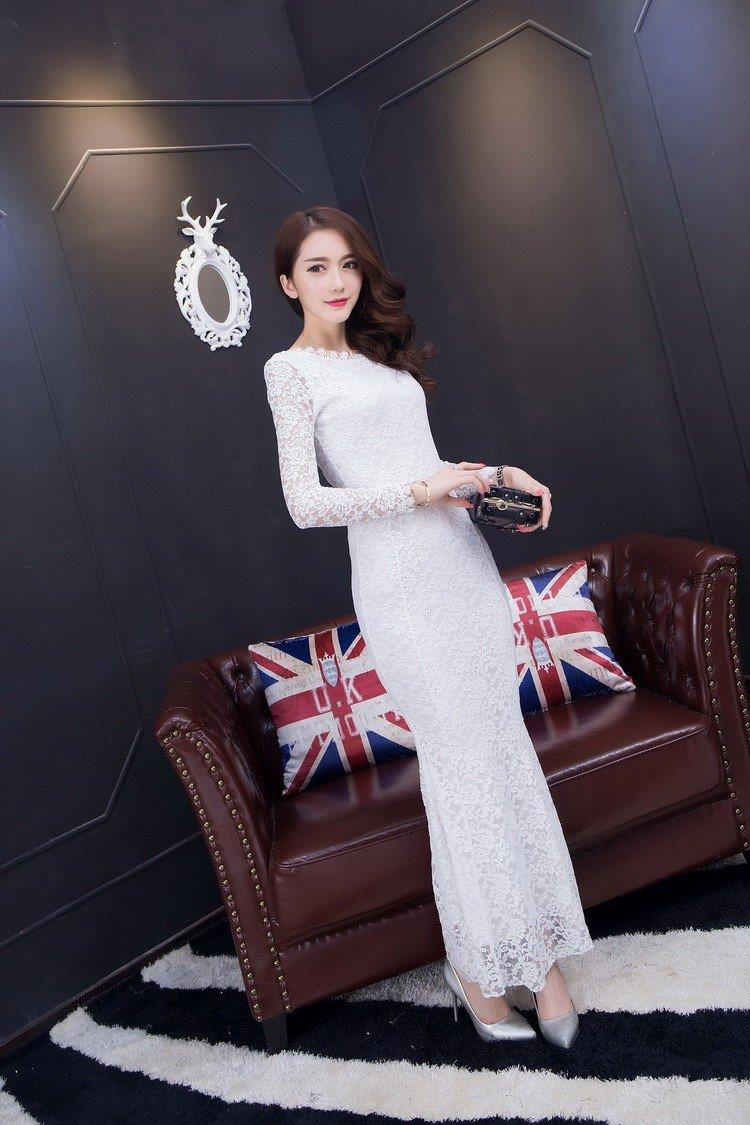 Bare Back Long Sleeves Pattern Lace Evening Dress (iKR052900)