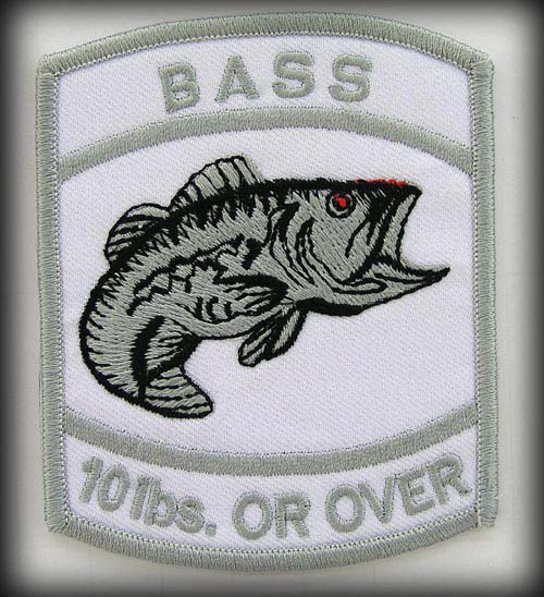 BASS FISHING SPORTS (10 LBS OR OVER) EMBROIDERED PATCH #SILVER