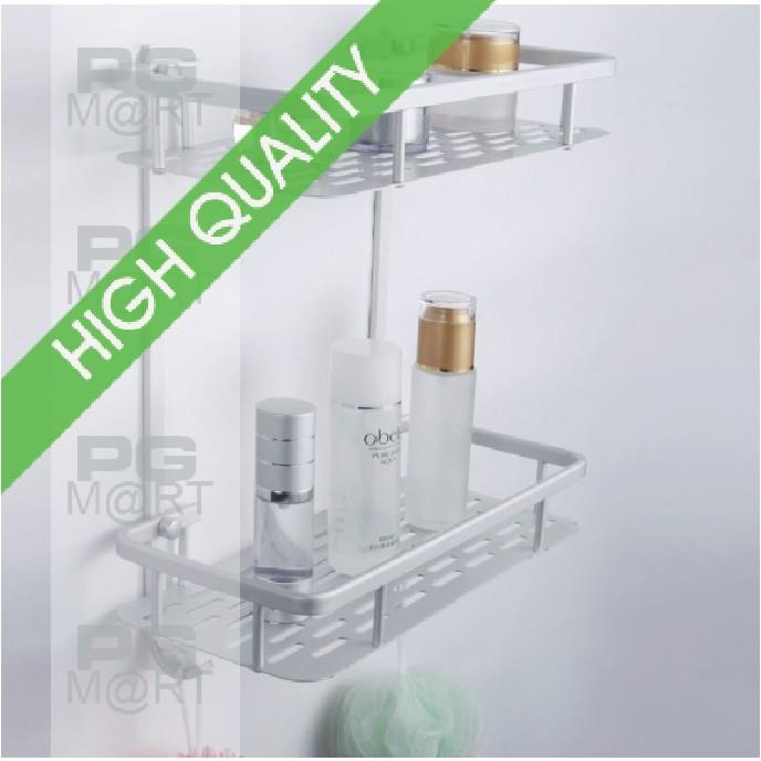 Bathroom Rectangle Two-tier Rack - Space Aluminum quality
