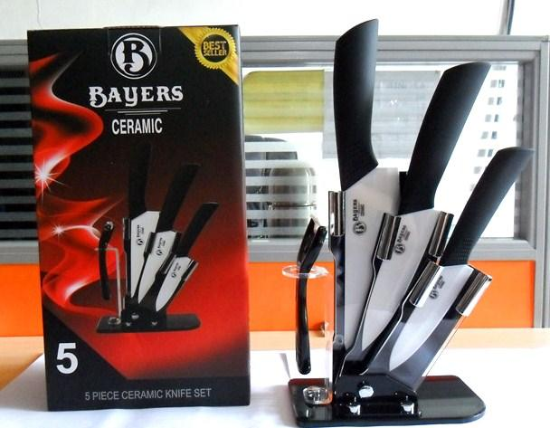 Bayers 5pc Ceramic Knife Set - 6' + 5' + 4' + peeler + stand