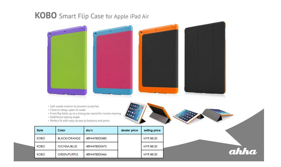 Bdotcom = Apple iPad Air Ahha KOBO Smart Flip Case