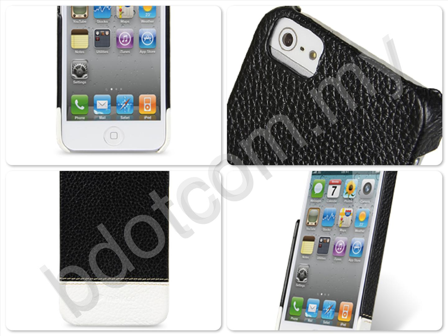 Bdotcom = Apple iPhone 5 Melkco Mix & Match Leather Snap Cover black white