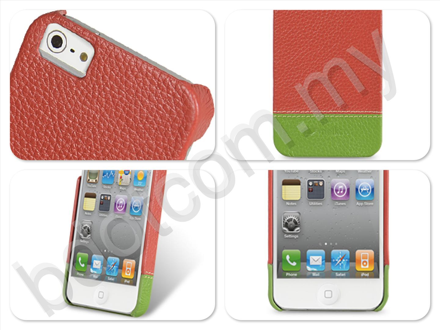 Bdotcom = Apple iPhone 5 Melkco Mix & Match Leather Snap Cover Red Green